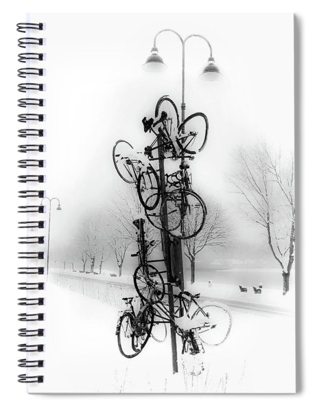 Bicycle Lamppost In Winter Spiral Notebook