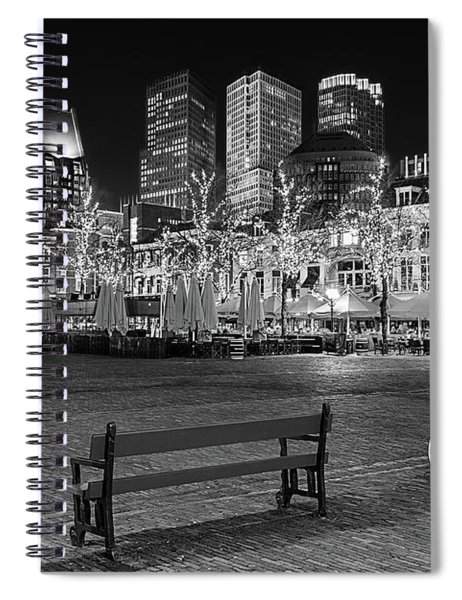 Spiral Notebook featuring the photograph Bicycle On The Plein At Night - The Hague  by Barry O Carroll