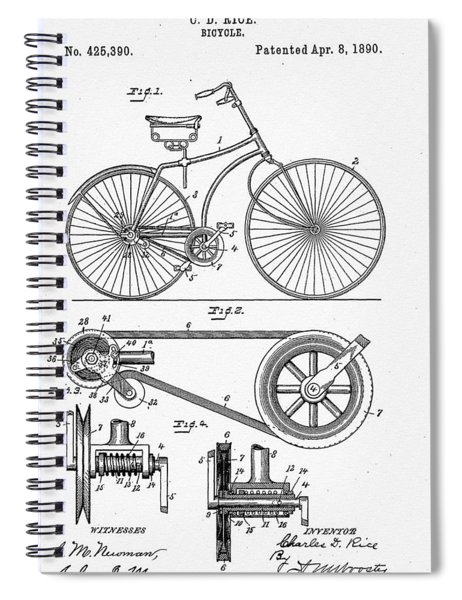 Bicycle Patent 1890 Spiral Notebook