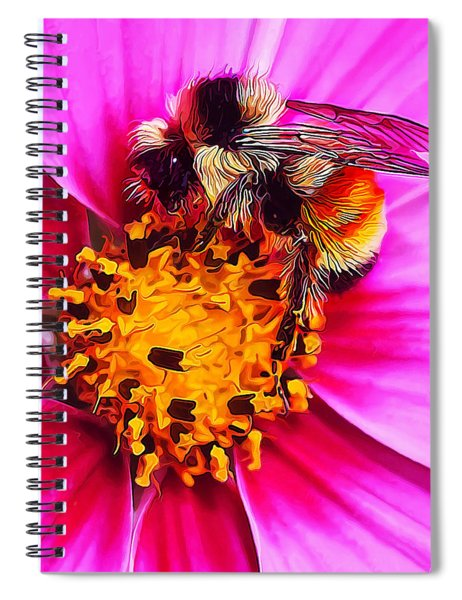 Big Bumble On Pink Spiral Notebook
