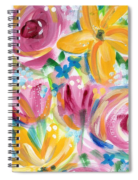 Big Colorful Flowers - Art By Linda Woods Spiral Notebook