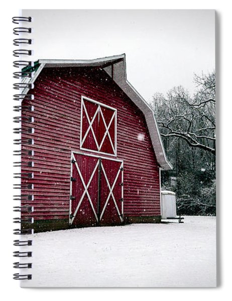 Big Red Barn In Snow Spiral Notebook