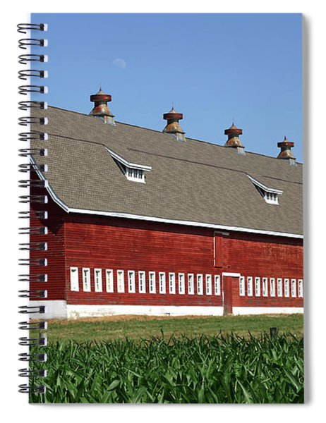 Spiral Notebook featuring the photograph Big Red Barn In Spring by Edward Peterson