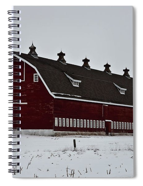 Spiral Notebook featuring the photograph Big Red Barn In The Winter by Edward Peterson