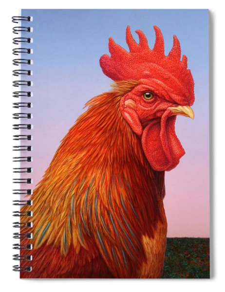 Spiral Notebook featuring the painting Big Red Rooster by James W Johnson
