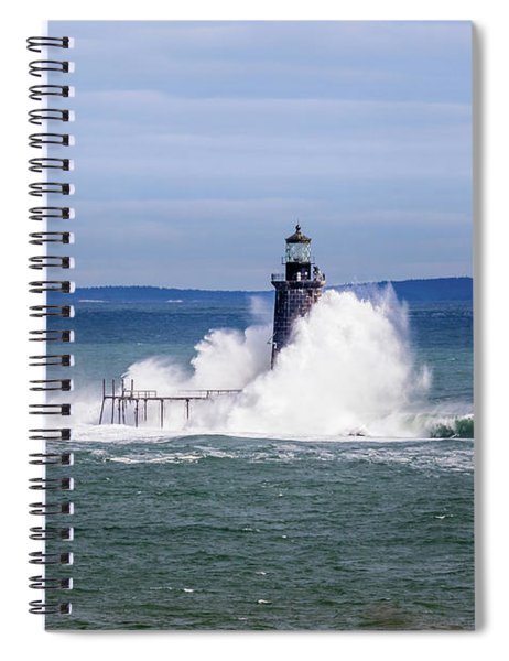 Big Wave Hits Ram Island Ledge Light Spiral Notebook