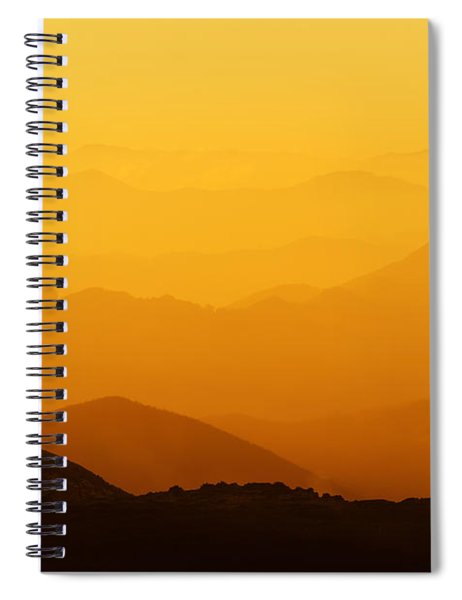 Biker Riding On Mountain Silhouettes Background Spiral Notebook