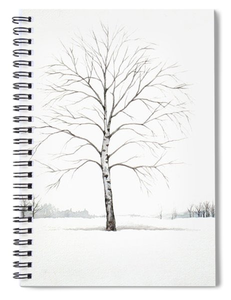 Birch Tree Upon The Winter Plain Spiral Notebook