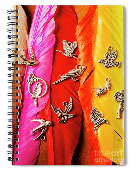 Bird Icons And Rainbow Feathers Spiral Notebook