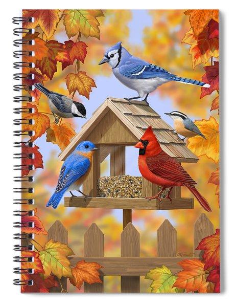 Bird Painting - Autumn Aquaintances Spiral Notebook
