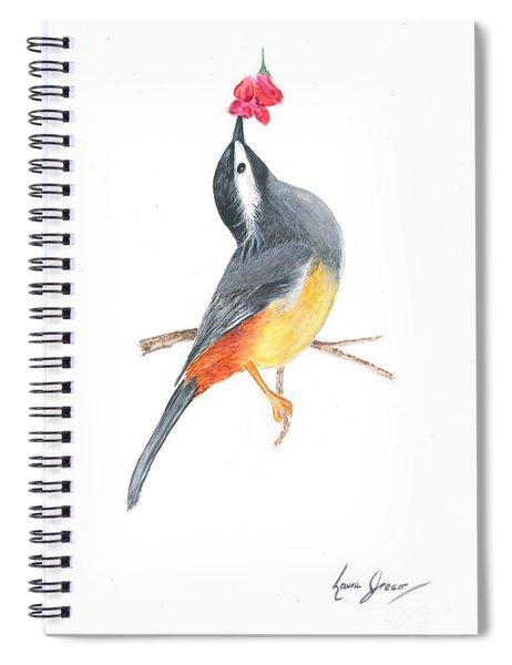 Minimal Bird And Flower Spiral Notebook