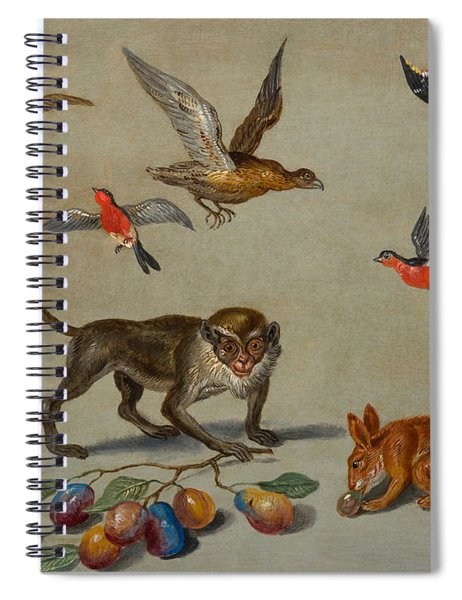Birds Flying Around A Monkey Spiral Notebook
