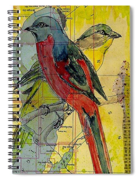 Birds On A Map Spiral Notebook
