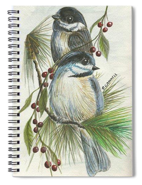 Birds Two And Fir Tree Spiral Notebook
