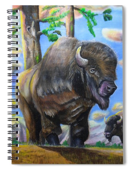 Bison Acrylic Painting Spiral Notebook