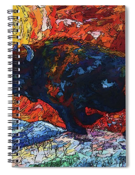 Bison Running Print Of Olena Art Wild The Storm Oil Painting With Palette Knife  Spiral Notebook