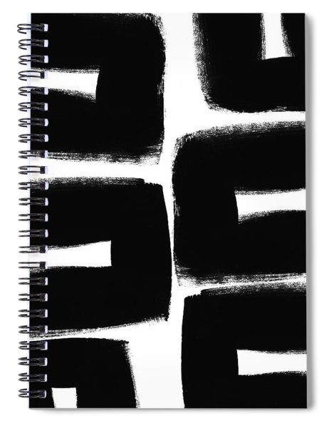 Black And White Abstract- Abstract Painting Spiral Notebook