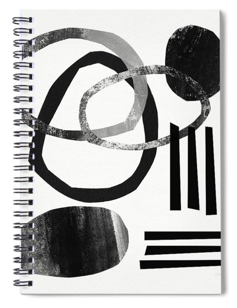 Black And White- Abstract Art Spiral Notebook by Linda Woods