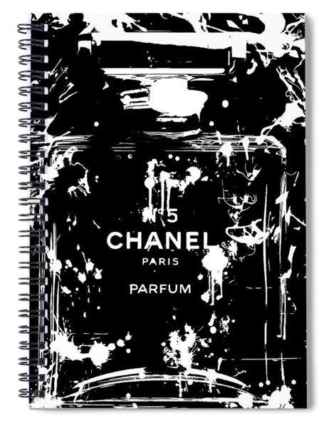 Black And White Chanel Splatter Spiral Notebook