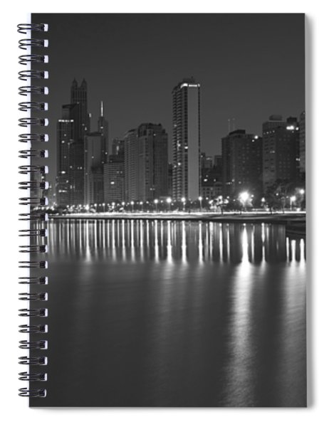 Black And White Chicago Skyline At Night Spiral Notebook