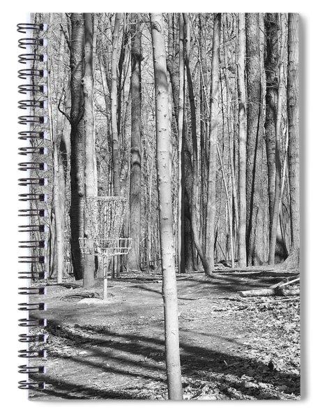 Black And White Disc Golf Basket Spiral Notebook