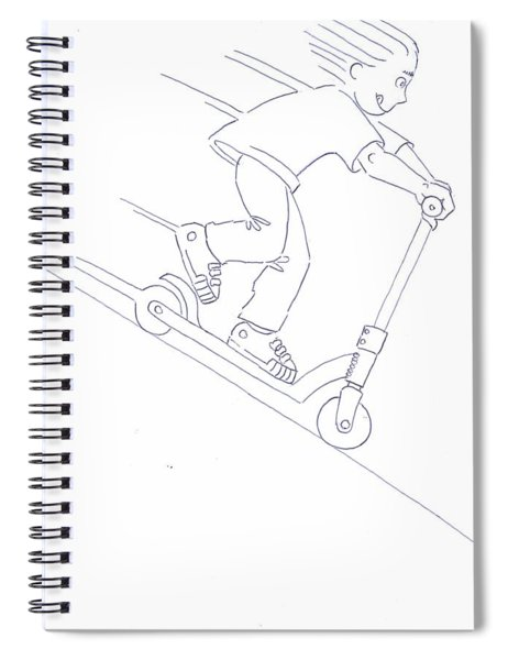 Black And White Micro Scooter Downhill Drawing Spiral Notebook
