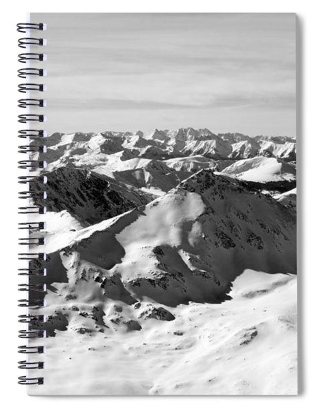 Black And White Of The Summit Of Mount Elbert Colorado In Winter Spiral Notebook