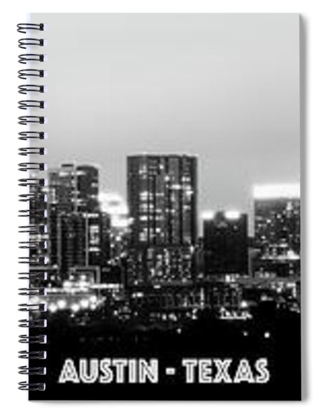 Black And White Panoramic View Of Downtown Austin Spiral Notebook