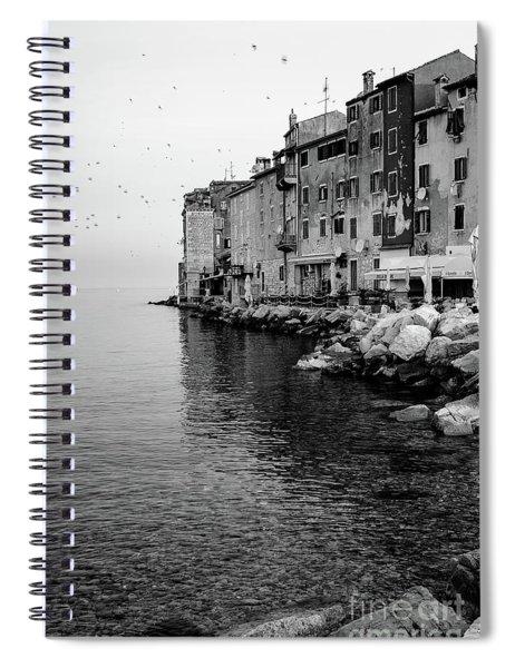 Black And White - Rovinj Venetian Buildings And Adriatic Sea, Istria, Croatia Spiral Notebook