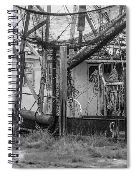 Black And White Shrimp Boat  Spiral Notebook