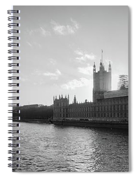 Black And White View Of Thames River And House Of Parlament From Spiral Notebook
