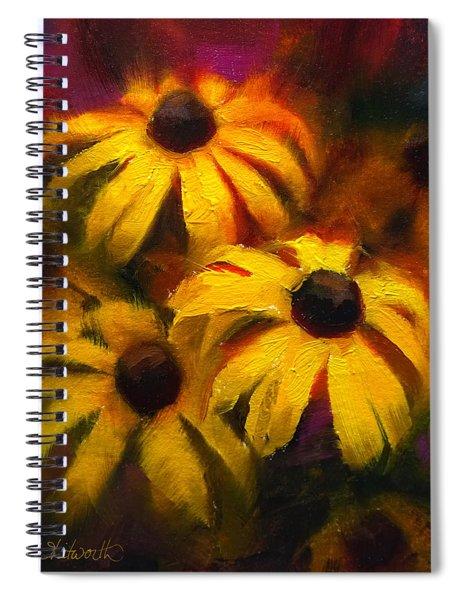 Black Eyed Susans - Vibrant Yellow Daisy Flowers Warm Colors Still Life Garden Decor Spiral Notebook