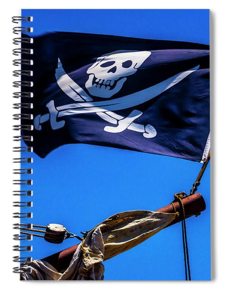 Black Flag Flying From Bow Spiral Notebook