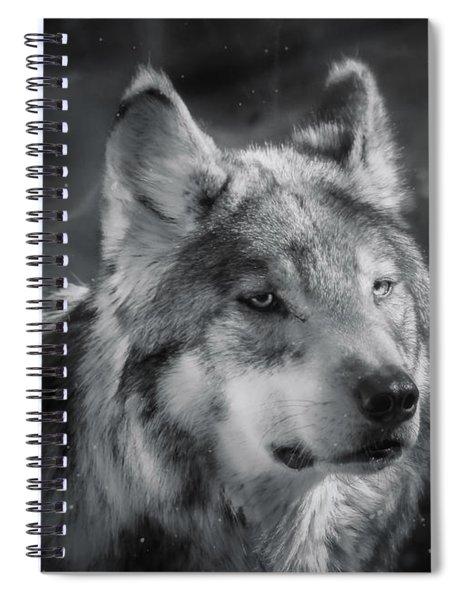Black N White Wolf Spiral Notebook