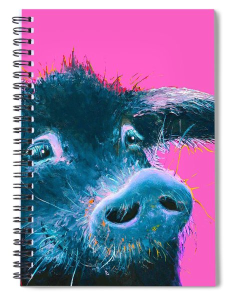 Black Pig Painting On Pink Background Spiral Notebook