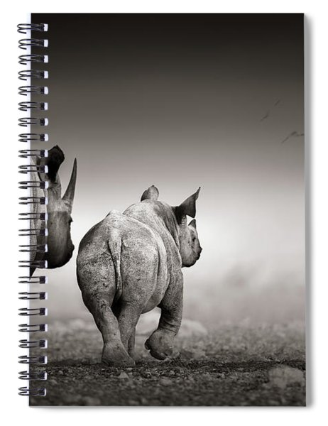 Black Rhino Cow With Calf  Spiral Notebook