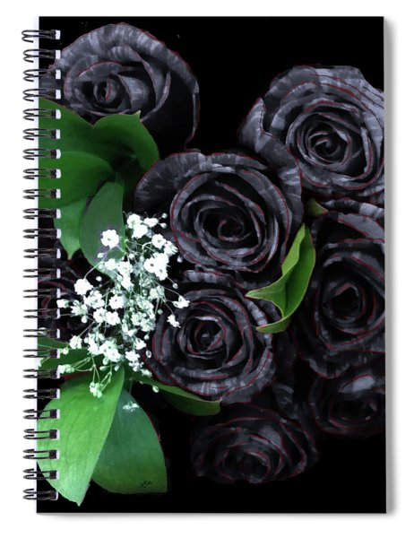 Black Roses Bouquet Spiral Notebook