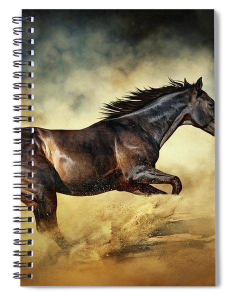 Black Stallion Horse Galloping Like A Devil Spiral Notebook