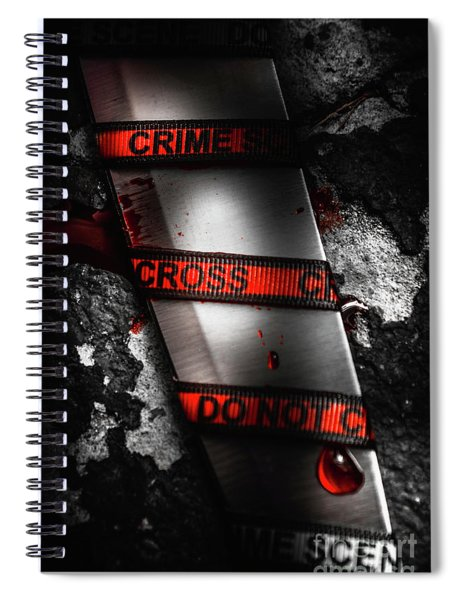 Bloody Knife Wrapped In Red Crime Scene Ribbon Spiral Notebook