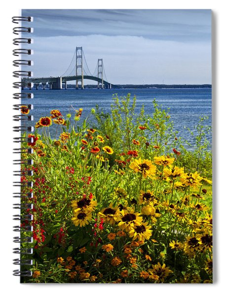 Blooming Flowers By The Bridge At The Straits Of Mackinac Spiral Notebook