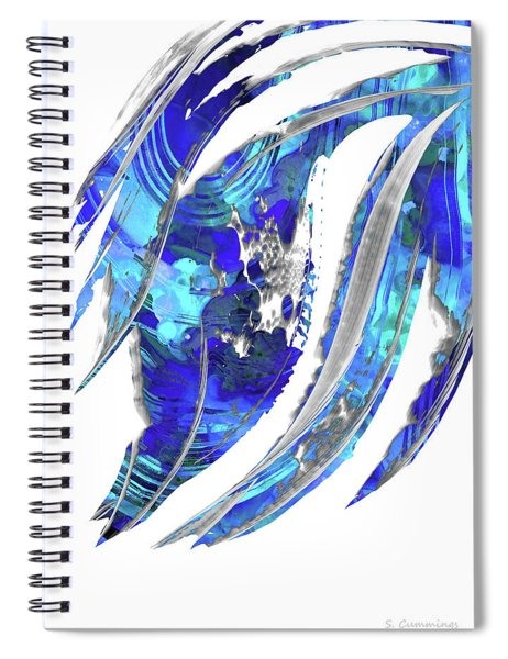 Blue Abstract Art - Flowing 2 - Sharon Cummings Spiral Notebook