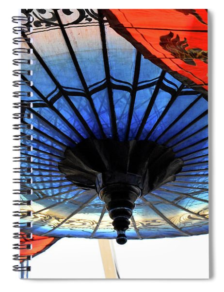 Blue And Red Umbrellas Spiral Notebook