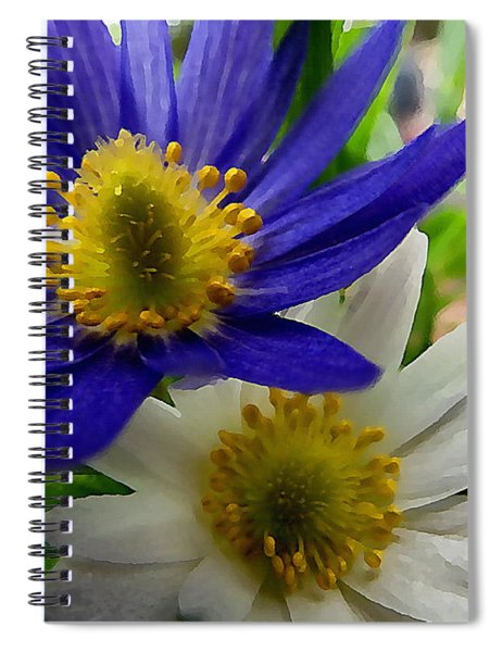 Blue And White Anemones Spiral Notebook