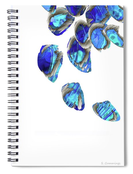 Blue And White Art - Falling 1 - Sharon Cummings Spiral Notebook