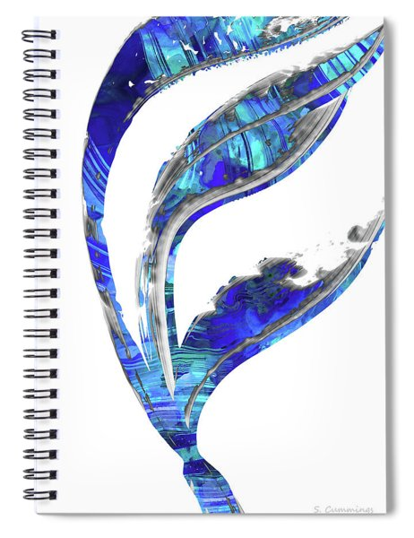 Blue And White Art - Flowing 1 - Sharon Cummings Spiral Notebook