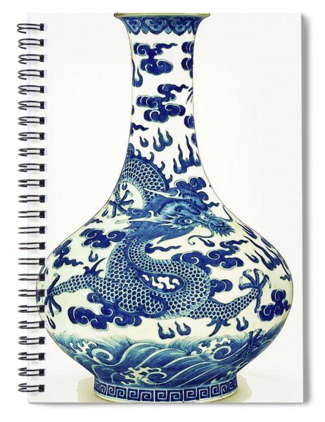 Blue And White Chinese Chinoiserie Dragon Vase Pottery Series,  No 1 By Adam Asar Spiral Notebook