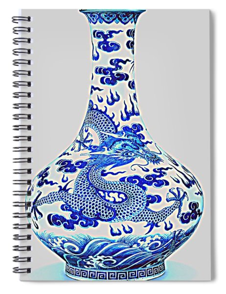 Blue And White Chinese Chinoiserie Dragon Vase Pottery Series,  No 2 By Adam Asar Spiral Notebook
