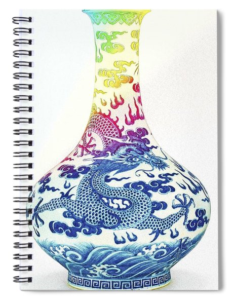 Blue And White Chinese Chinoiserie Dragon Vase Pottery Series,  No 3 By Adam Asar Spiral Notebook