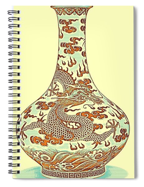 Blue And White Chinese Chinoiserie Dragon Vase Pottery Series,  No 4 By Adam Asar Spiral Notebook