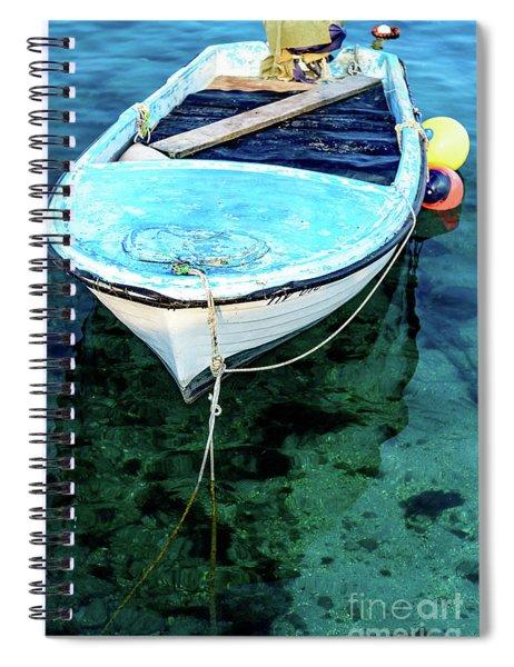 Blue And White Fishing Boat On The Adriatic - Rovinj, Croatia Spiral Notebook